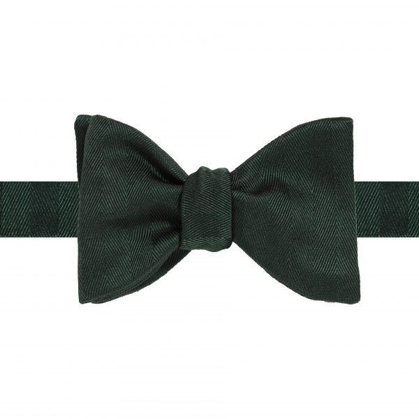 Classic 7cm Green Herringbone tied back
